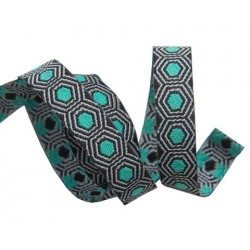Ribbon Tula Pink Tiny Tortoise dots Mint Black -10mm