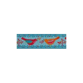 Ribbon Red and Orange Birds on Blue 38mm