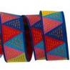 Ribbon O Bailloeul Triangles Red Blue Yellow 22mm