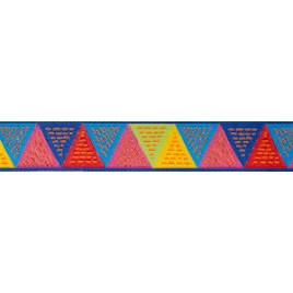 Ribbon O Bailloeul Triangles Green Blue Yellow 22mm