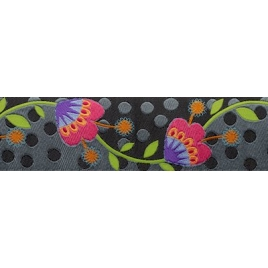 Ribbon Sue Spargo Flowers on Gray 38mm