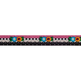Ribbon Dinara Folk Happy Birds on black-38mm