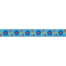 Ribbon Sue Spargo Poppy Vine on blue-16mm
