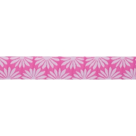 Ribbon Kaffe Fassett Gerbera white on Pink -22mm