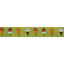 Ribbon J Jones Popsicles on lime-22mm