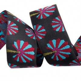 Ribbon Kaffe Fassett Palm in blue and burgundy on black- 38mm