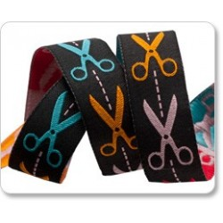 Ribbon J Jones Scissors Multi-Color on Black-22mm