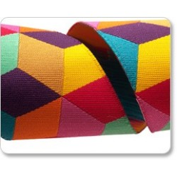 Ruban Kaffe Fassett Cubes en orange et jaune -38mm